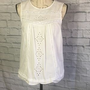 Old Navy White Cotton Eyelet Lace Top Size S
